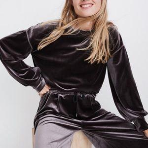 Madewell Velvet Balloon-Sleeve Sweatshirt